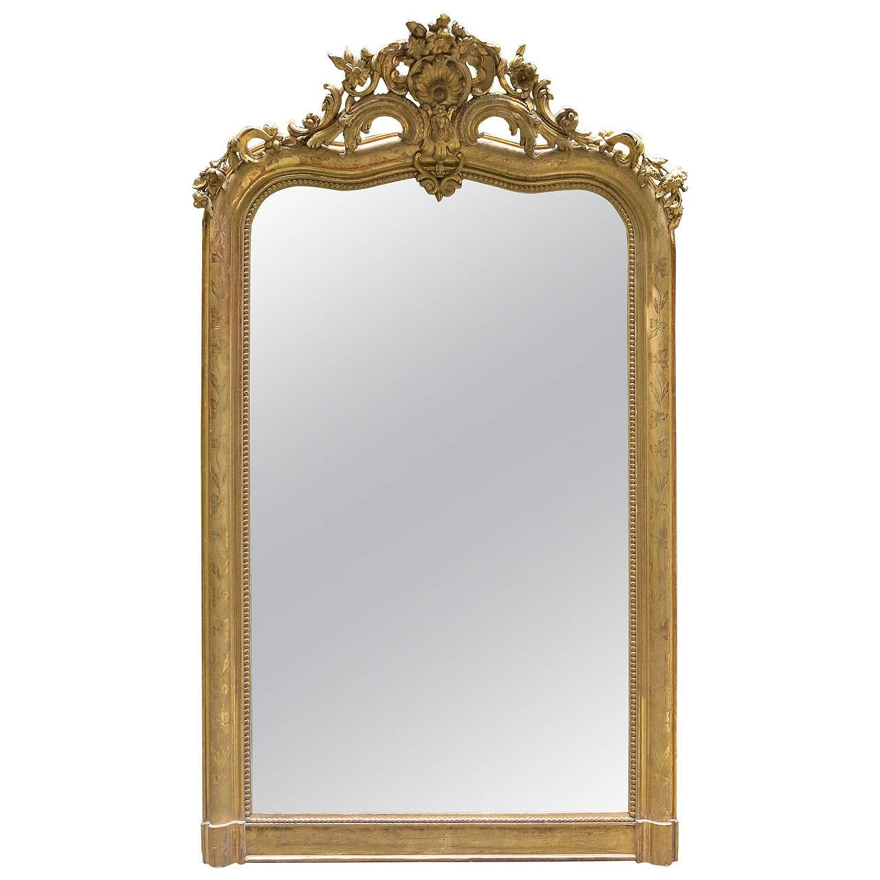 18th Century Louis Xv Gilded Mirror With Cartouche At 1stdibs Intended For Gilded Mirror (View 11 of 15)