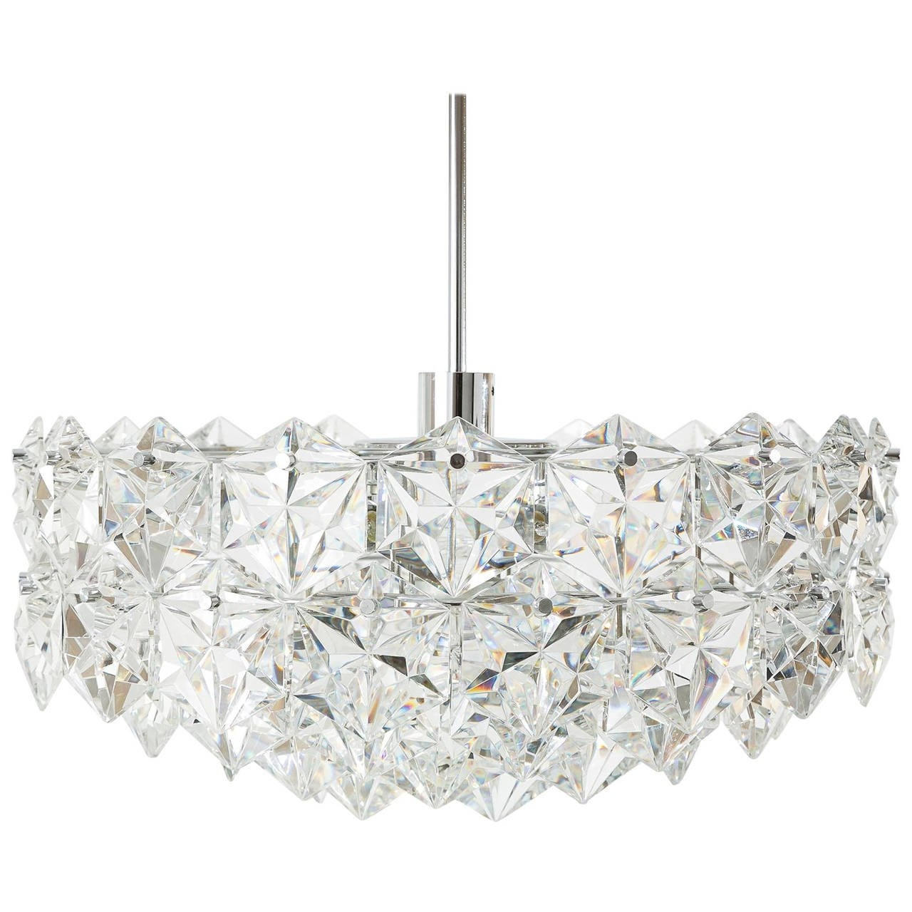 19 3 Tier Kinkeldey Crystal Chandelier Flush Mount Light Chrome Pertaining To 3 Tier Crystal Chandelier (Image 2 of 15)