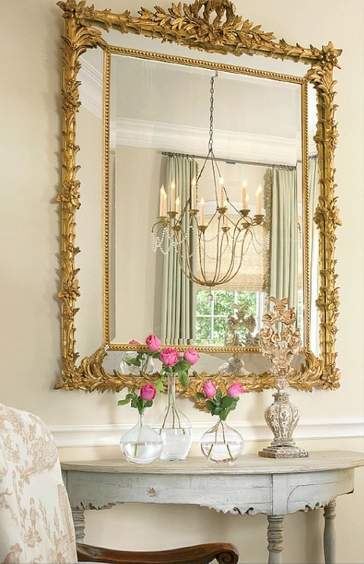 192 Best Images About Shab Chic Signs Mirrors Frames On Throughout Shabby Chic Gold Mirror (Image 1 of 15)