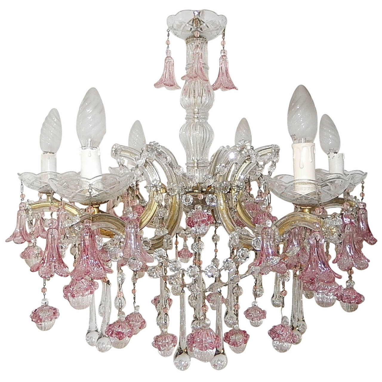 1920 French Fuchsia Murano Flowers And Balls Chandelier At 1stdibs Inside Fuschia Chandelier (Image 1 of 15)