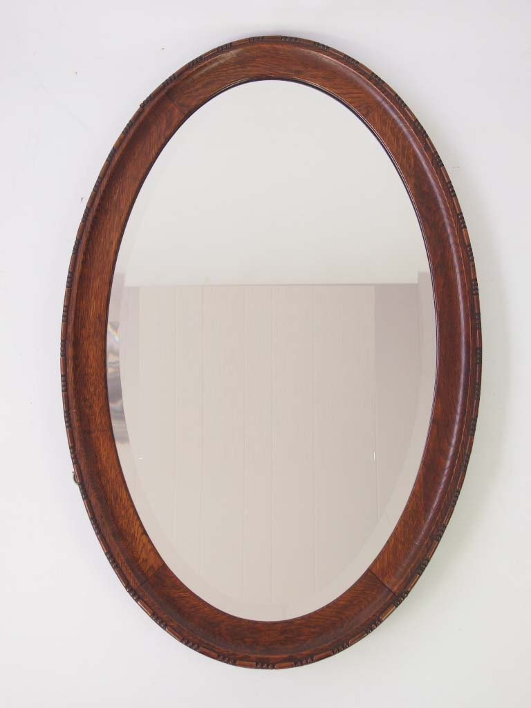 1920s Oak Oval Hall Mirror Overmantle Mirror For Sale With Oak Mirrors For Sale (Image 1 of 15)