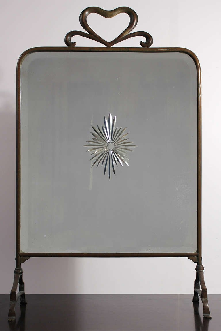 1930 Art Deco Brass Fire Screen Mirror At 1stdibs Throughout Deco Mirror (Image 1 of 15)