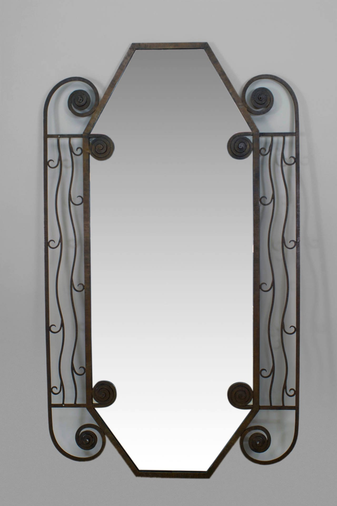 1930s French Art Deco Iron Wall Mirror For Sale At 1stdibs Within Wall Mirror Art Deco (Image 1 of 15)