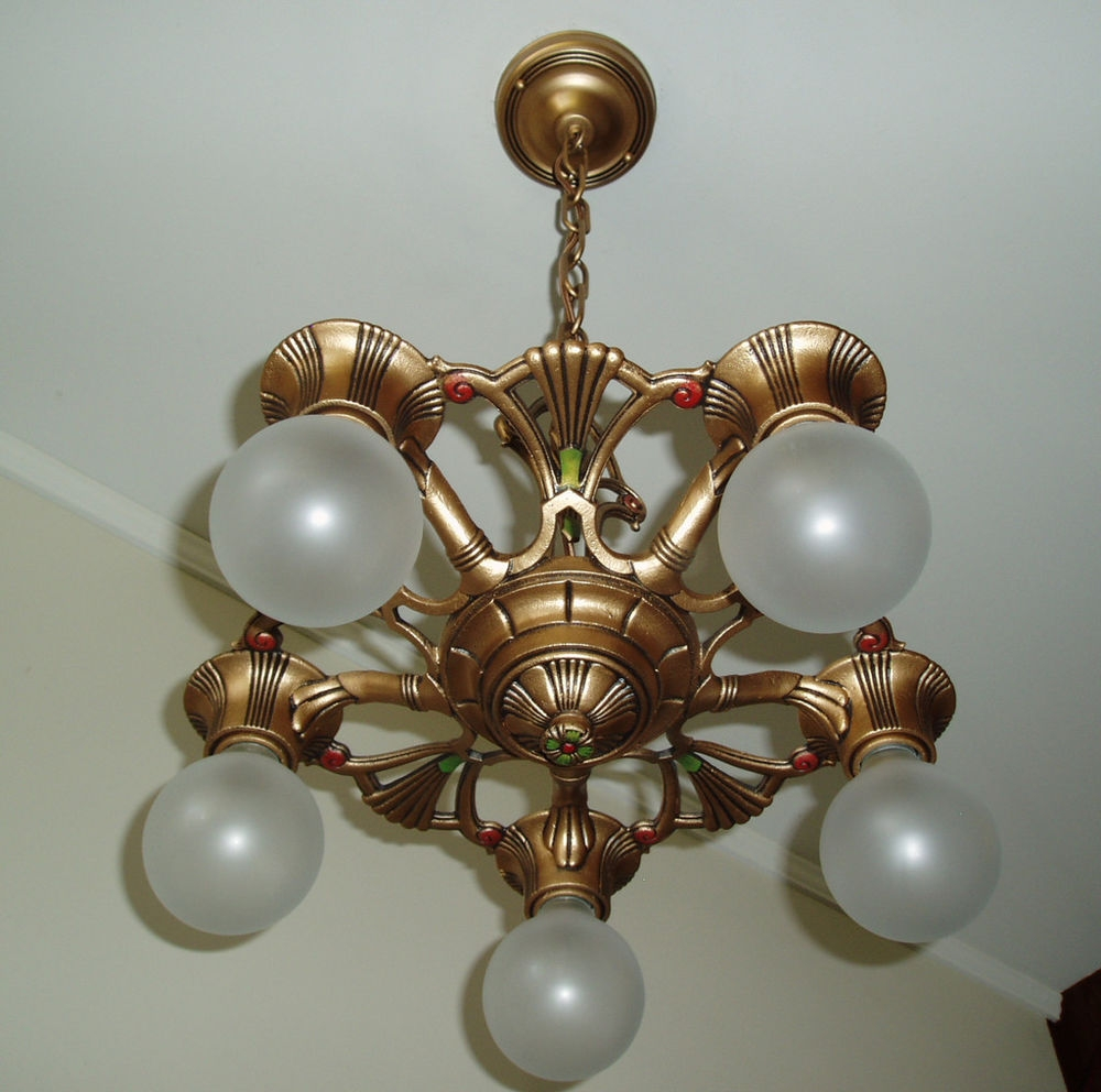 1930s Vintage Gold Art Deco Cast Iron Metal Ceiling Light Fixture With Cast Iron Antique Chandelier (Image 1 of 15)