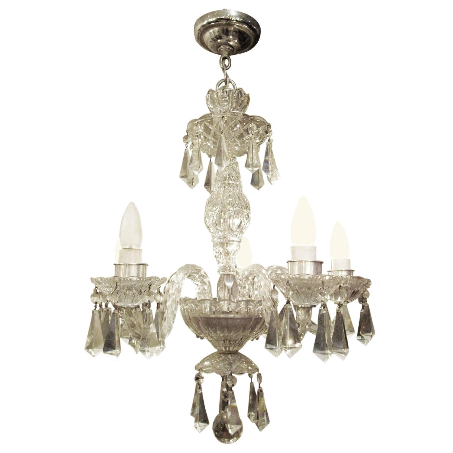 1940s Five Arm German Lead Crystal Chandelier Modern Chandelier For Lead Crystal Chandeliers (Image 2 of 15)
