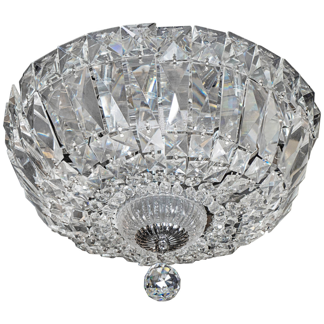 1940s Hollywood Cut Crystal Drop Down Flush Mount Chandelier For With Flush Chandelier (Image 1 of 15)