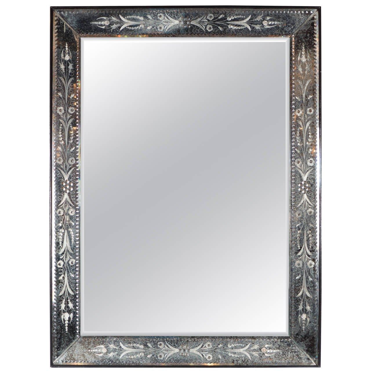 1940s Venetian Mirror With Patinated And Reverse Etched Smoked Inside Rectangular Venetian Mirror (View 9 of 15)
