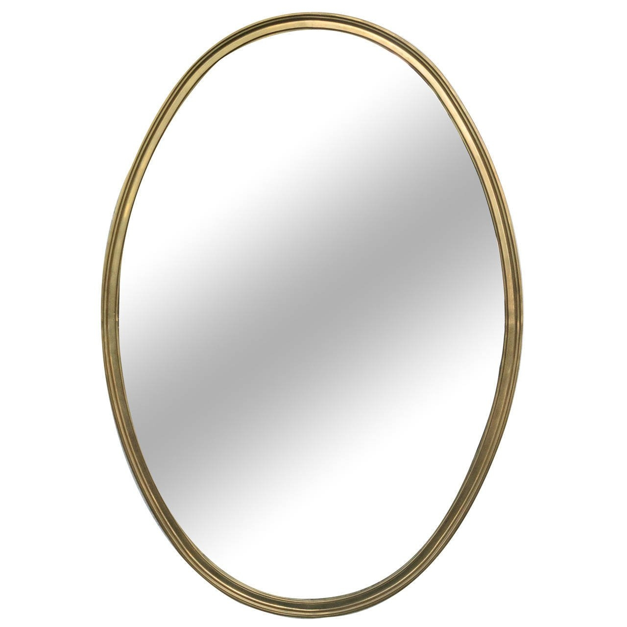 1950s French Brass Oval Shaped Mirror At 1stdibs Inside French Oval Mirror (Image 2 of 15)