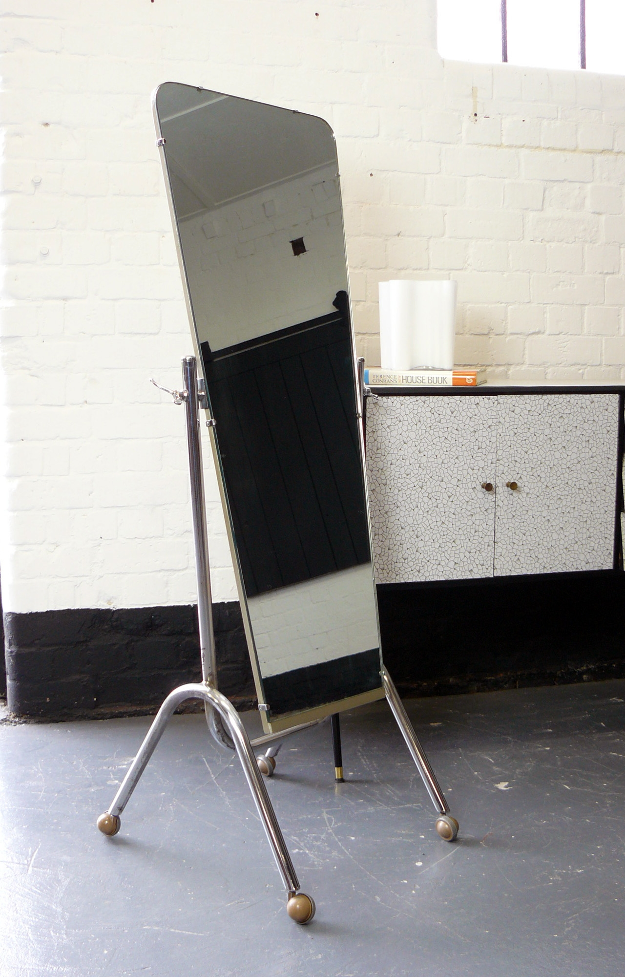 1950s Vintage Retro Chrome Free Standing Dressing Mirror Vinterior In Standing Dressing Mirror (View 15 of 15)