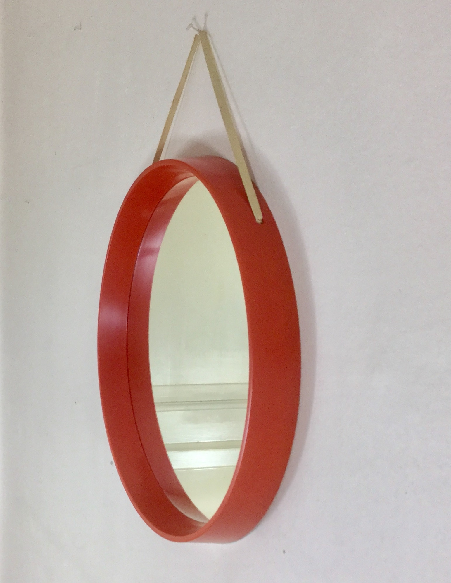 1970s Round Retro Red Wall Mirror With Hanging Strap Made In With Red Wall Mirrors (Image 1 of 15)