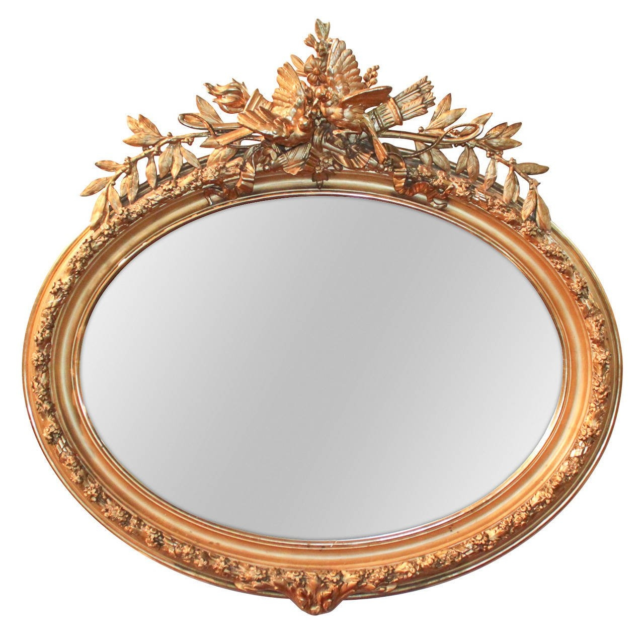 19th Century French Louis Xvi Oval Gilt Mirror For Sale At 1stdibs Inside Gilt Mirror (View 5 of 15)