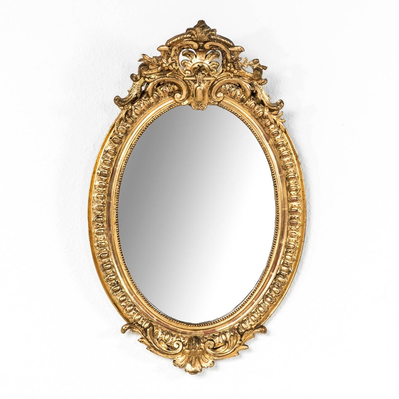 19th Century French Regency Style Giltwood Oval Mirror At 1stdibs With French Oval Mirror (Image 5 of 15)