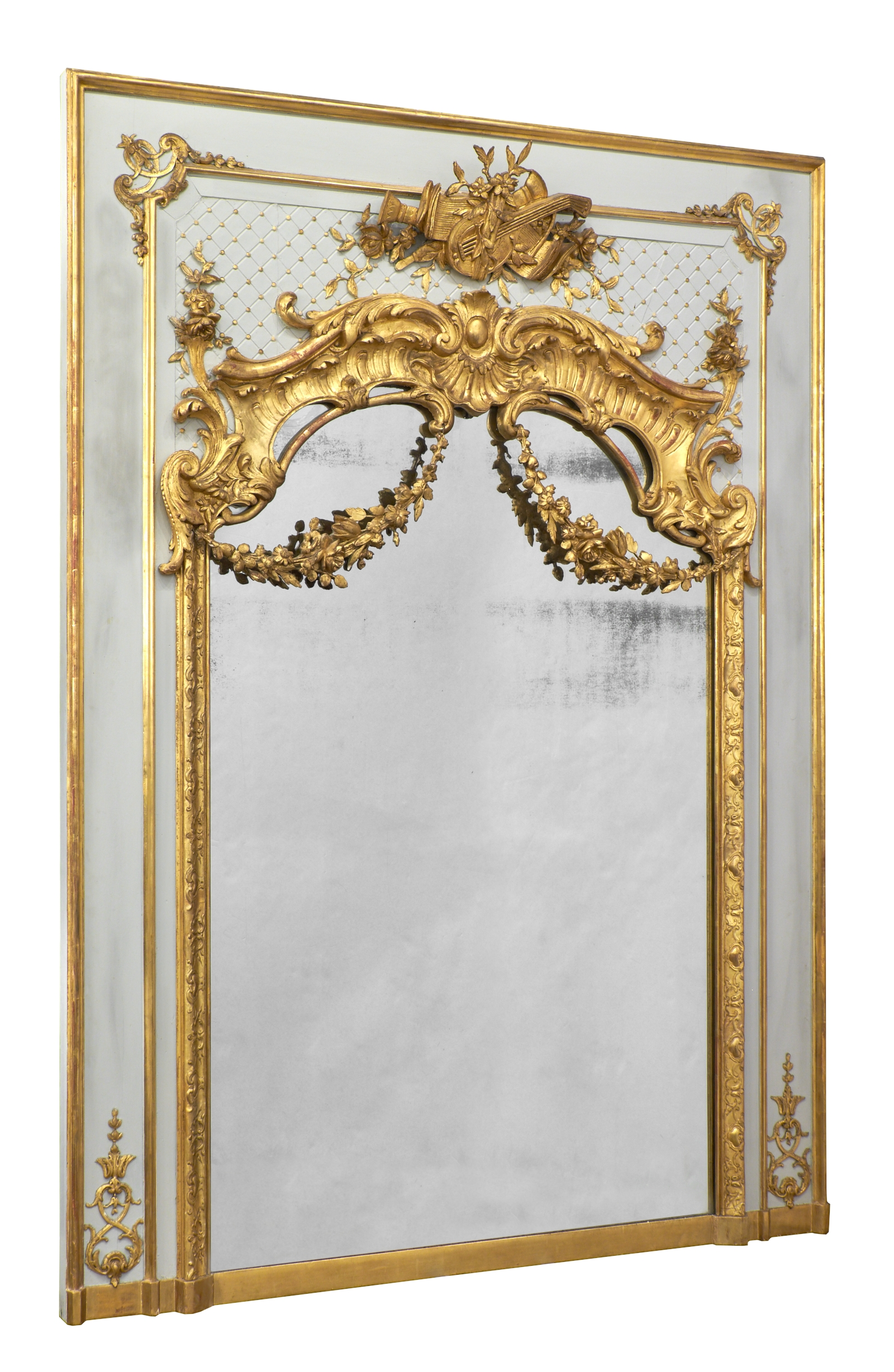 19th Century Louis Xvi Gold Leaf Trumeau Jean Marc Fray Pertaining To Ornate Gold Mirror (View 4 of 15)