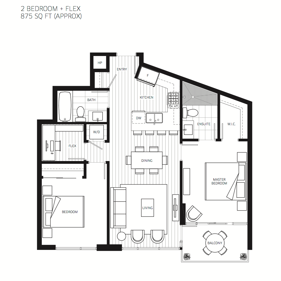 2 Bedroom With 2 Bathroom And Balcony House Plans 2D Layout (Image 1 of 17)