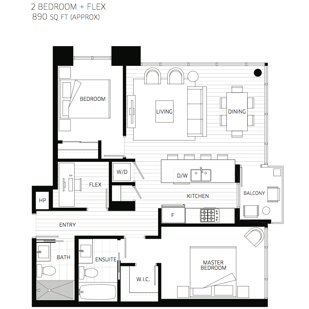 2 Bedroom With 2 Bathroom House Plans 2D (Image 2 of 17)