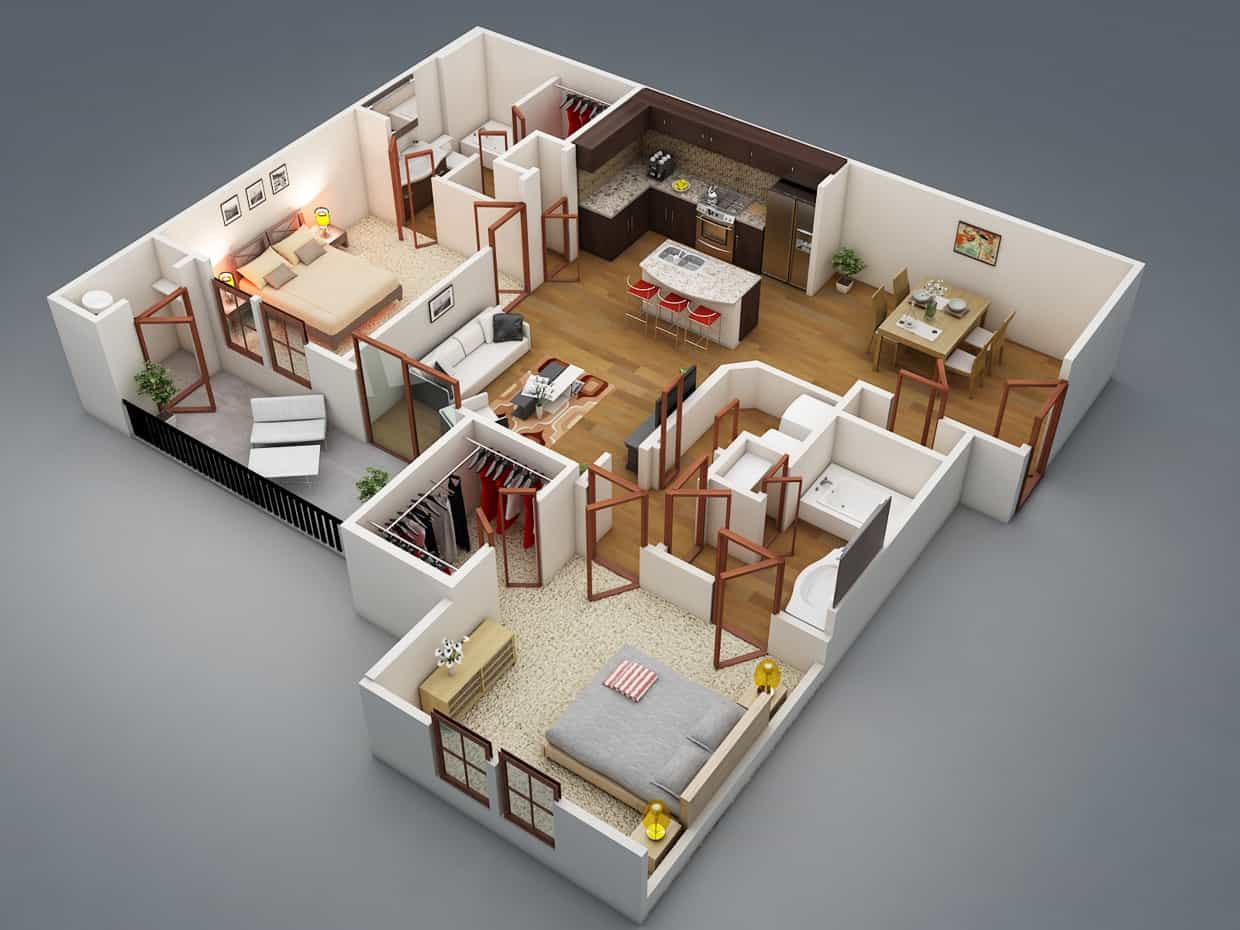 2 Bedroom With 2 Bathroom House Plans 3D Layout (Image 3 of 17)