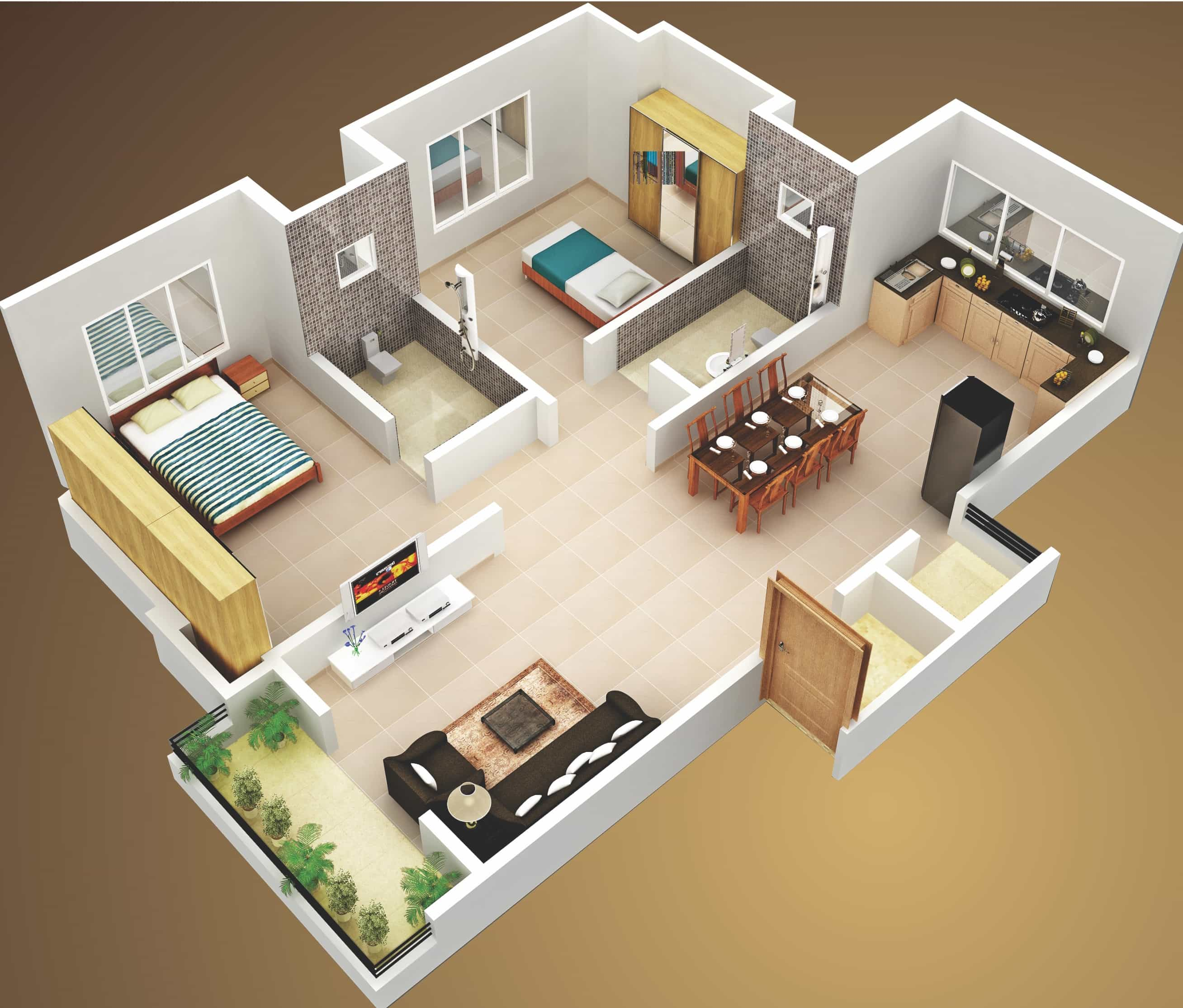 Home 3d Design Online Minimalist: 3D Two Bedroom House Layout Design Plans #22449