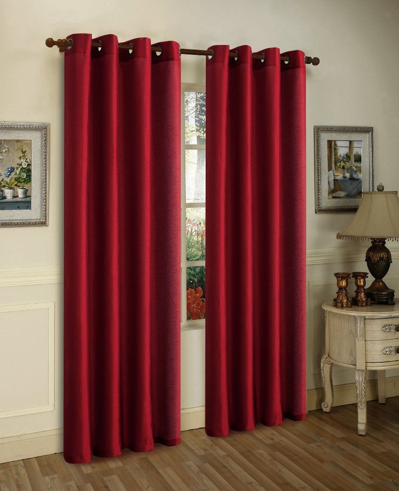 2 Panels Blackout Lined Backing Silk Window Drapes Curtain Dark For Lined Thermal Curtains (Image 1 of 15)