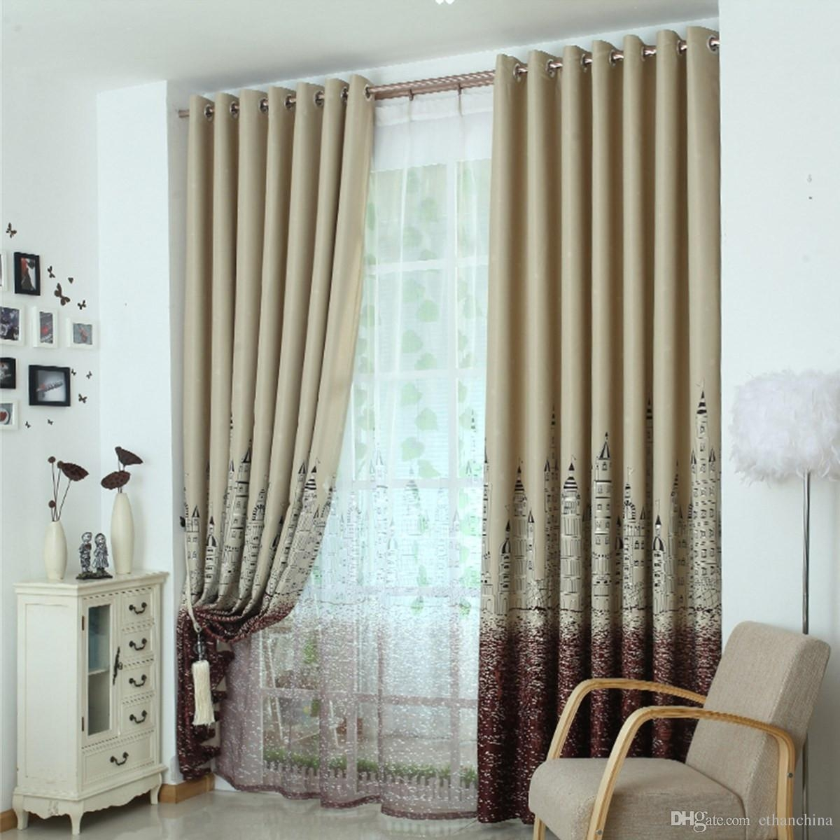 2017 Ivolador Castle Pattern Curtains Polyester Blackout Curtain Within Hotel Quality Blackout Curtains (Image 1 of 15)