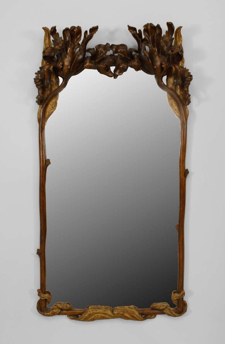 20th C Art Nouveau Parcel Gilt Wall Mirror Wall Mirrors C Art For Mirror Art Nouveau (Image 1 of 15)