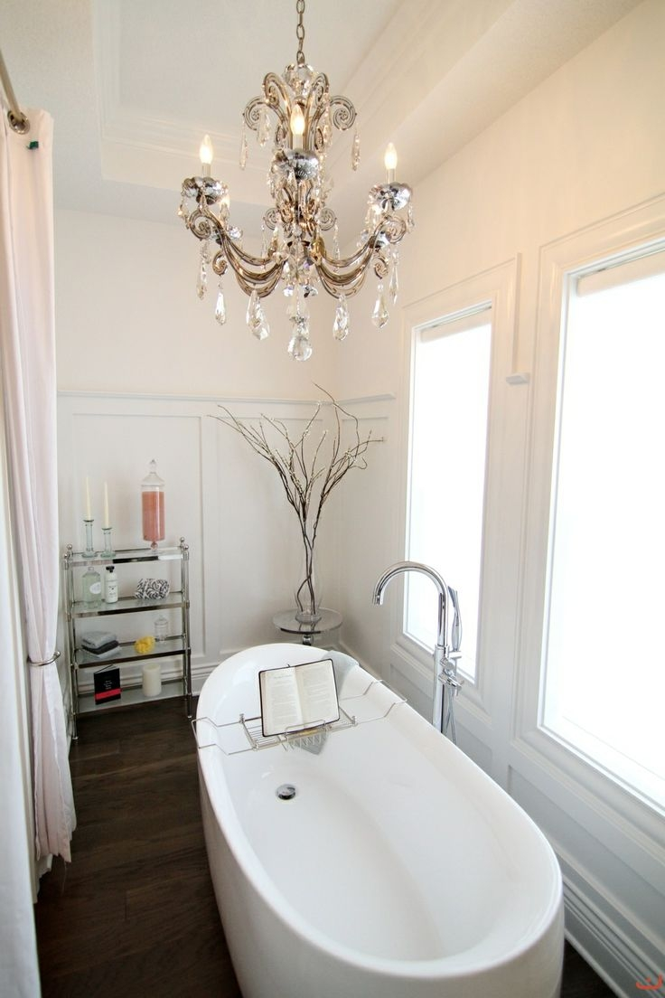 21 Ideas To Decorate Lamps Chandelier In Bathroom Within Chandelier In The Bathroom (Image 3 of 15)