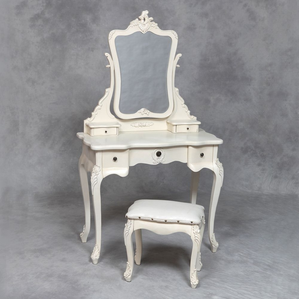 22 French Dressing Table Set Tables Amp Stools Antique White In French Style Dressing Table Mirror (Image 1 of 15)