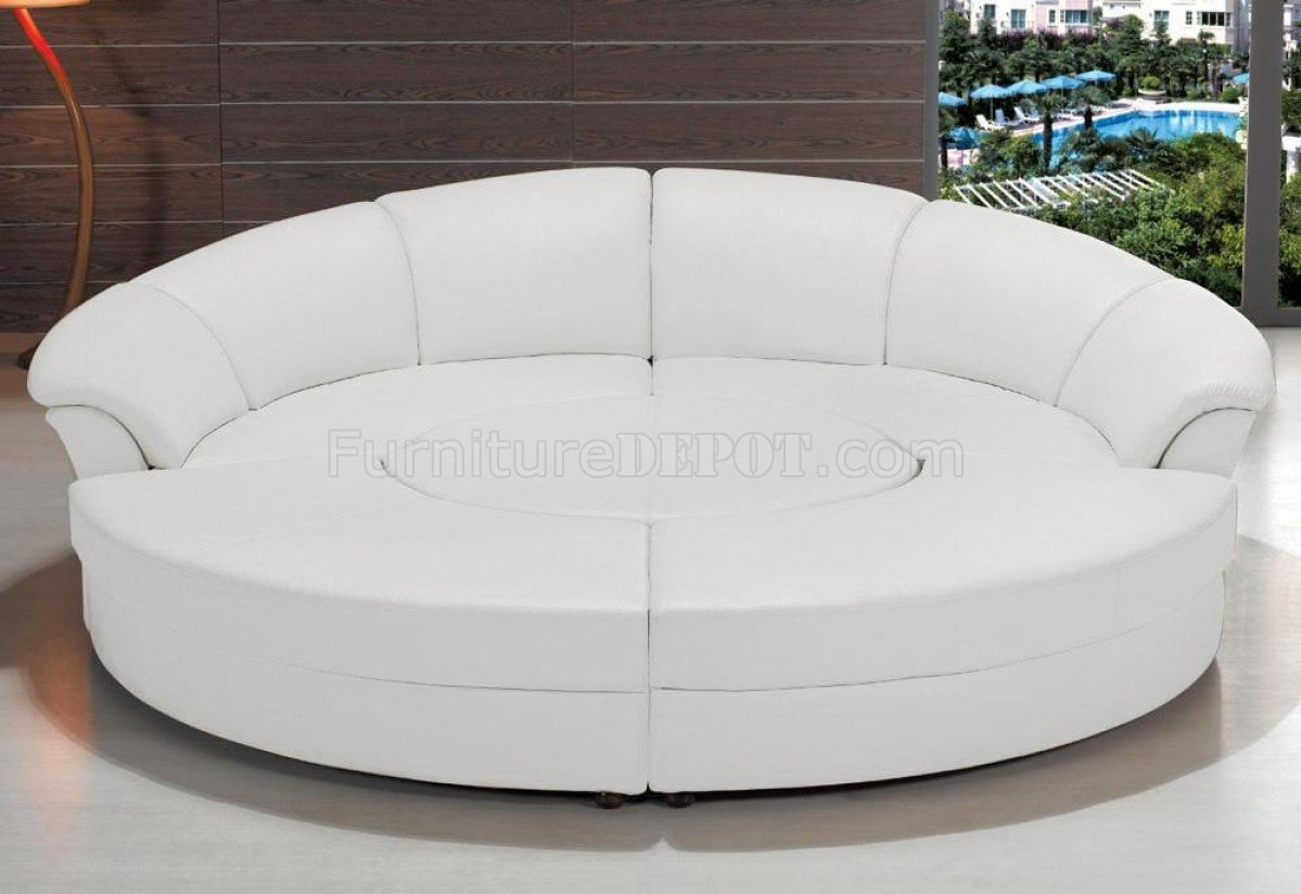 2276 Circle Sectional Sofa In White Bonded Leather Vig In Circle Sectional Sofa (Image 1 of 15)