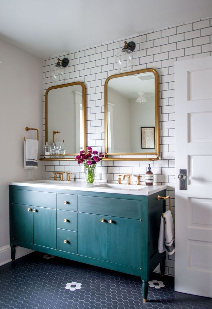 25 Best Ideas About Framed Bathroom Mirrors On Pinterest Within Bright Coloured Mirrors (Image 3 of 15)