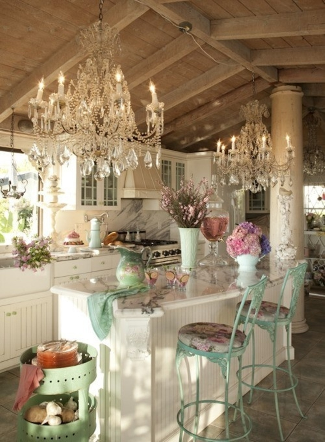 25 Charming Shab Chic Style Kitchen Designs Shab Chic Blue With Regard To Country Chic Chandelier (Image 3 of 15)