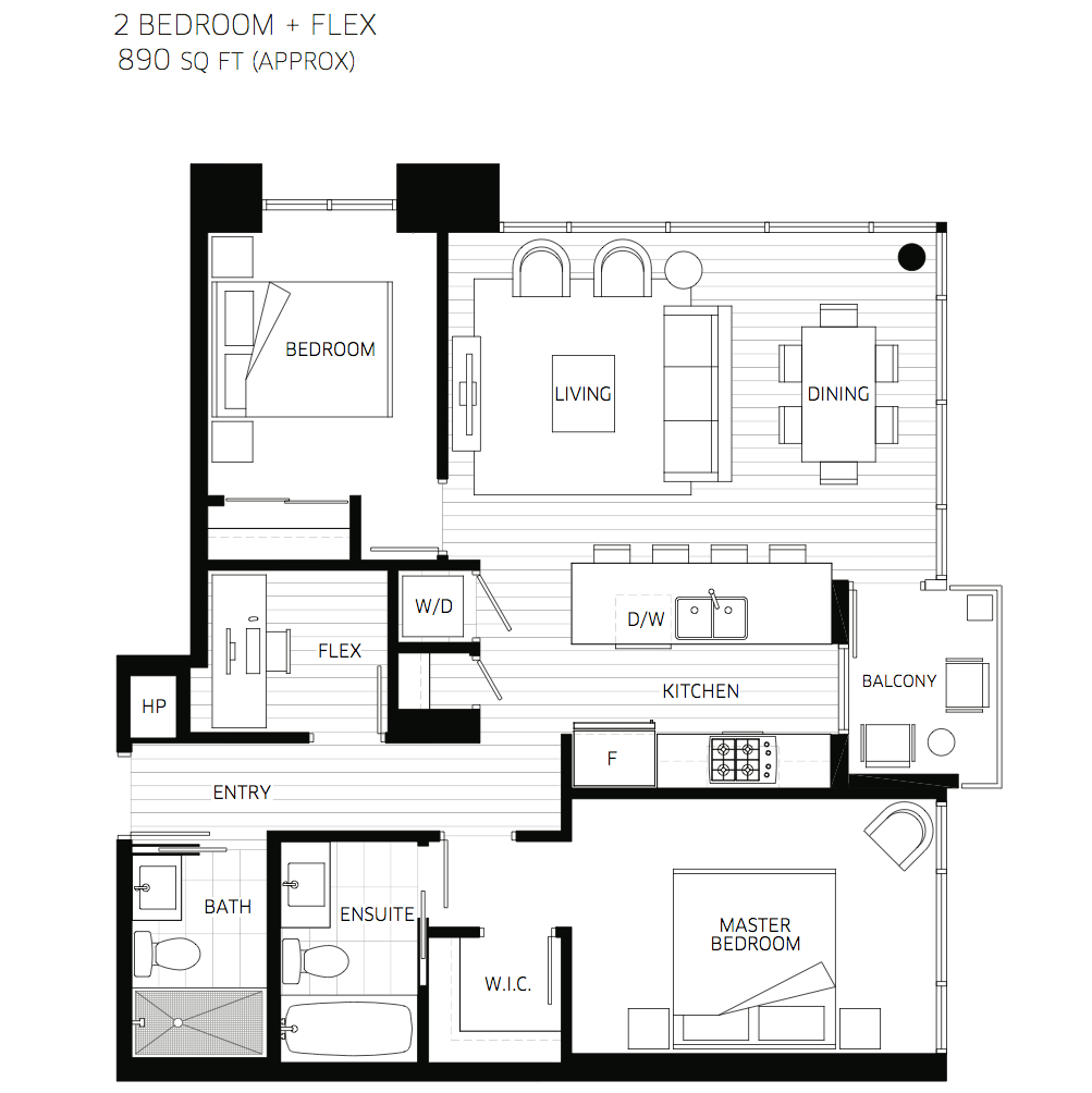 2D Two Bedroom With 2 Bathroom House Plans (Image 5 of 17)