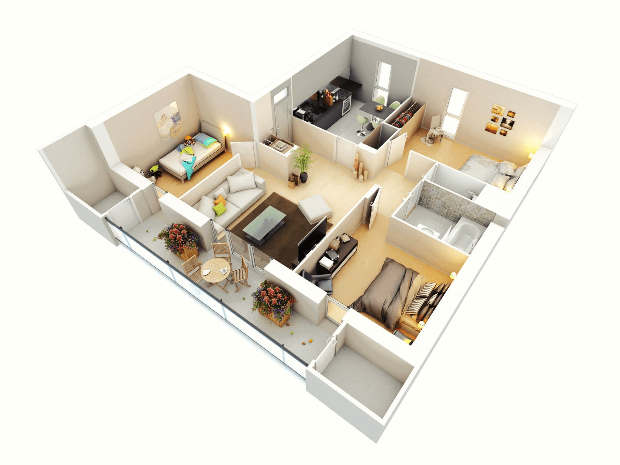 3d three bedroom house layout design plans 23034 for One floor house design plans 3d
