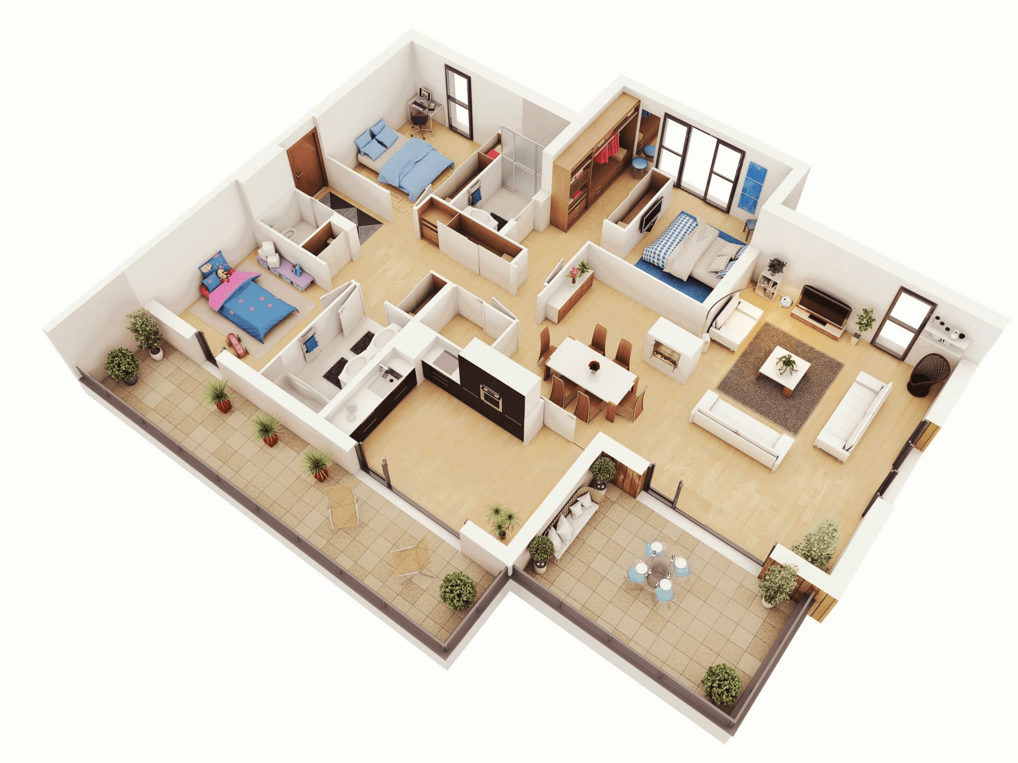 3 Bedroom House With Patio Living Room Floor Plans 3D (Image 2 of 11)