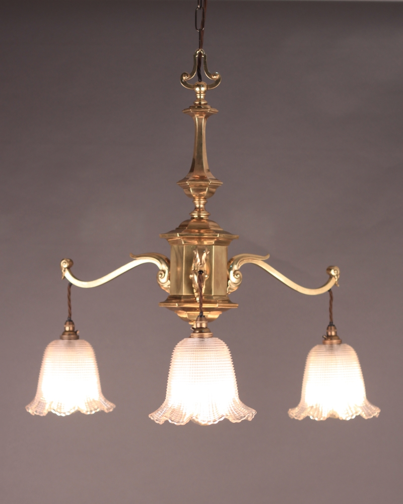 3 Branch Edwardian Chandelier With Holophane Shades Edwardian In Edwardian Chandelier (Image 1 of 15)