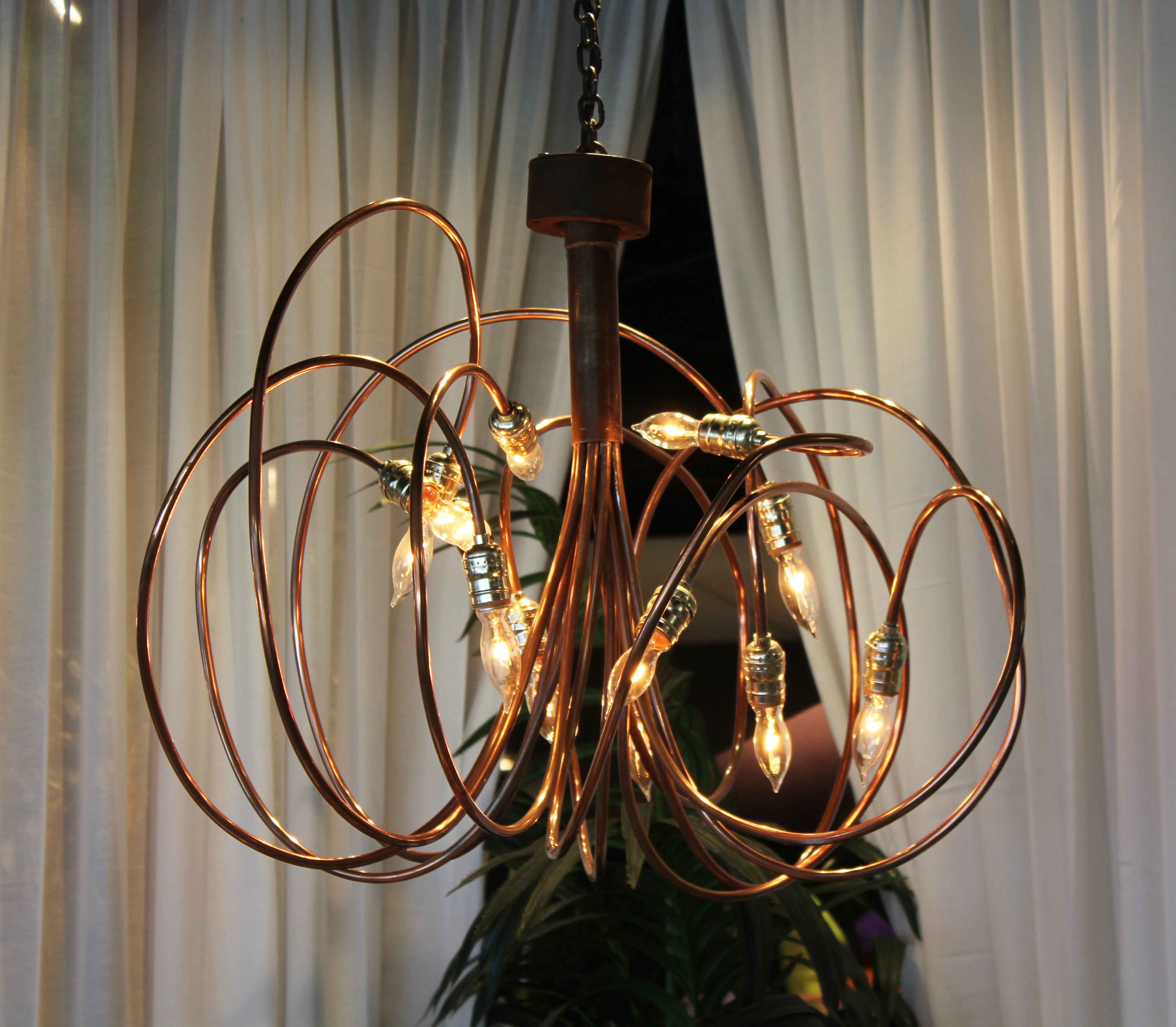 3 Copper Brass Chandelier Town Country Event Rentals For Copper Chandeliers (Image 1 of 15)