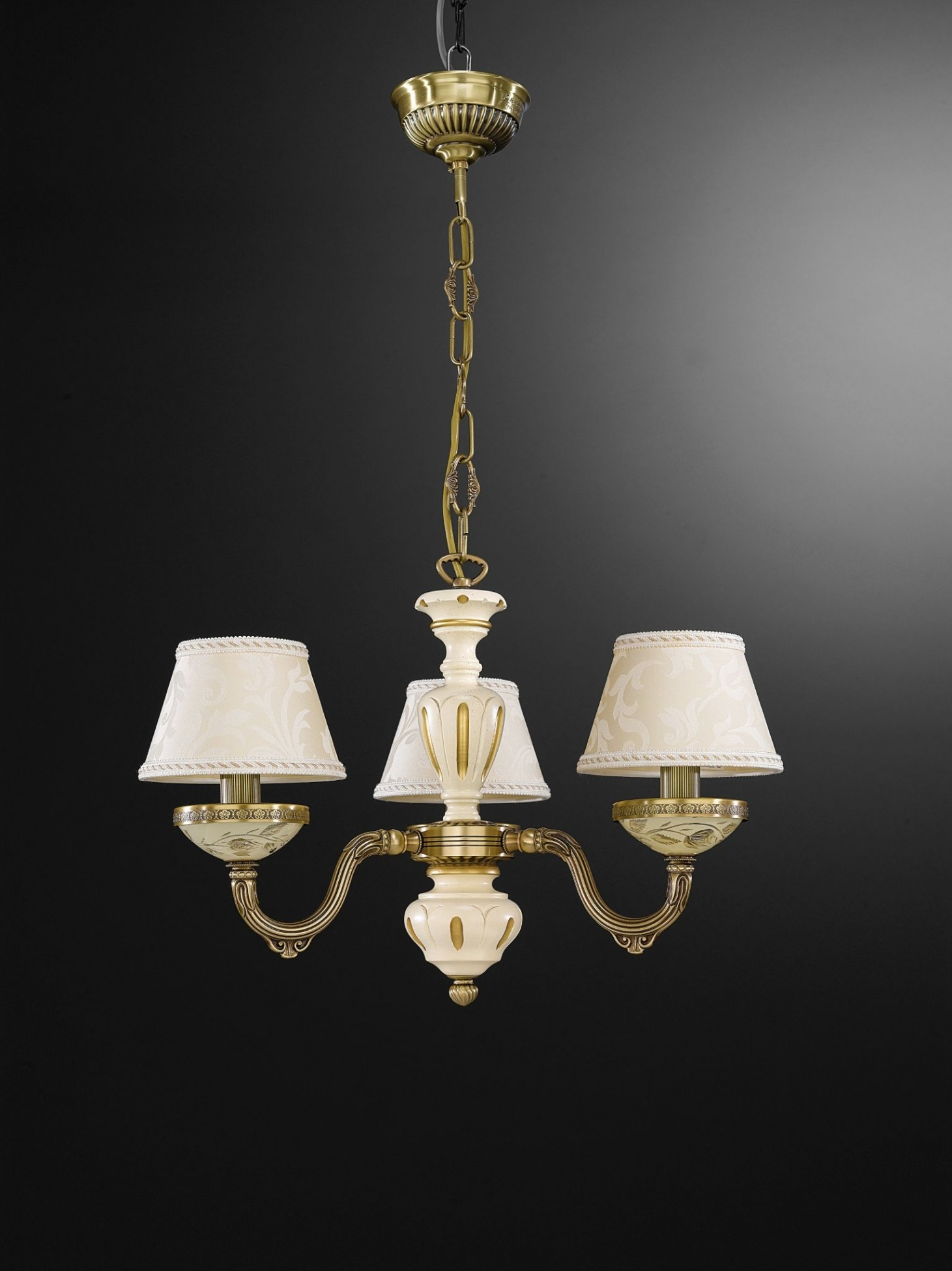 3 Lights Brass Wood And Cream Glass Chandelier With Lamp Shades With Regard To Cream Chandelier Lights (Image 1 of 15)