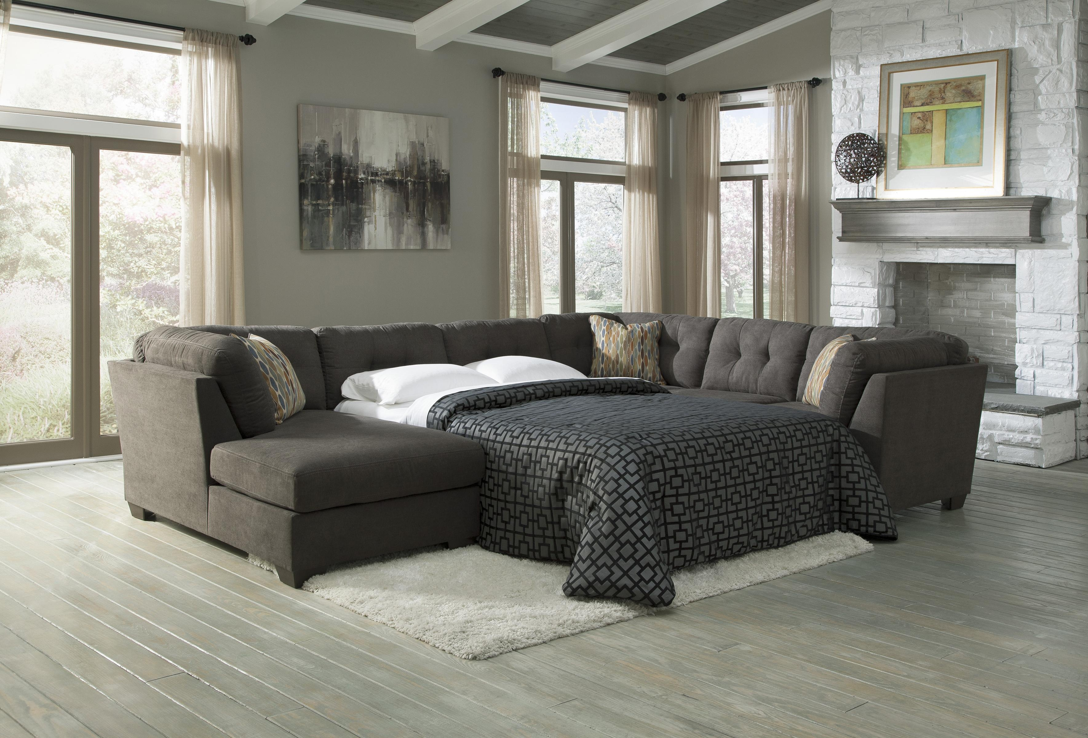 3 Piece Modular Sectional W Armless Sleeper Left Chaise With 3 Piece Sectional Sleeper Sofa (Image 2 of 15)