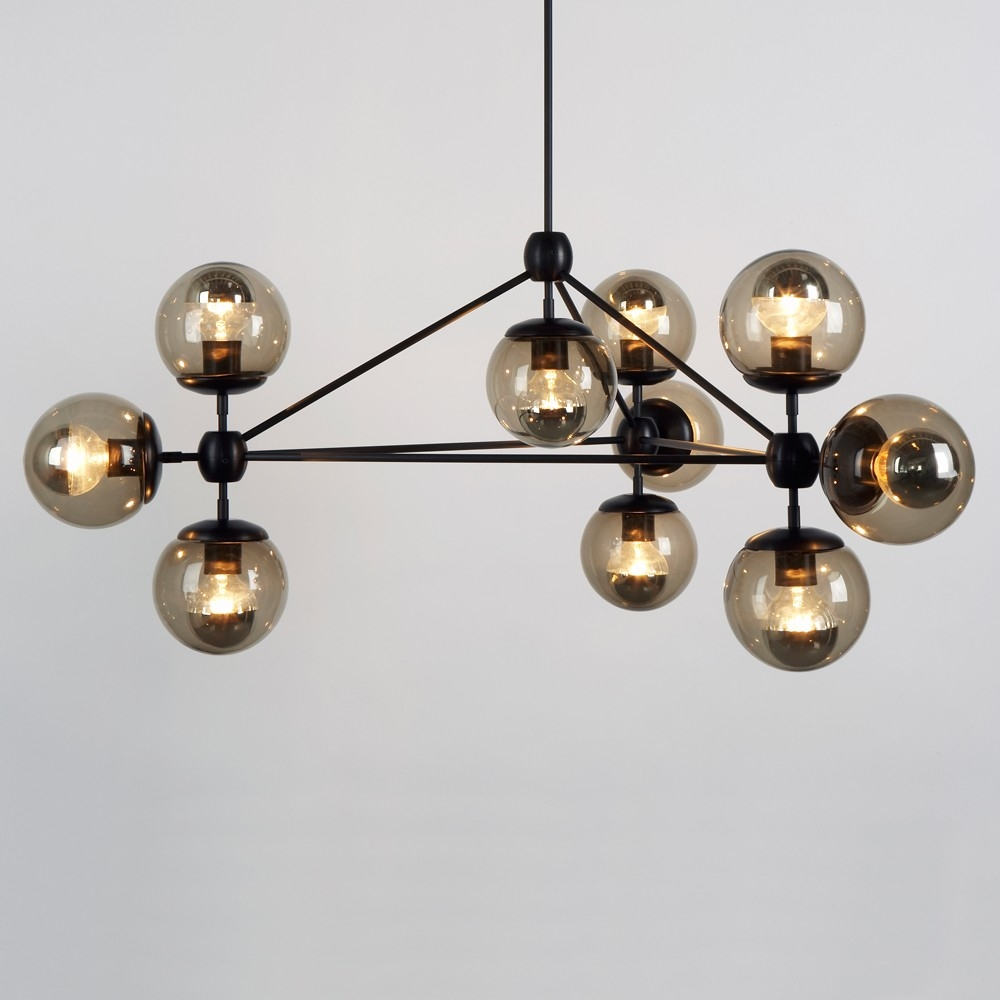 3 Sided Modo Chandelier 10 Globes Jason Miller Chandelier Inside Smoked Glass Chandelier (Image 2 of 15)