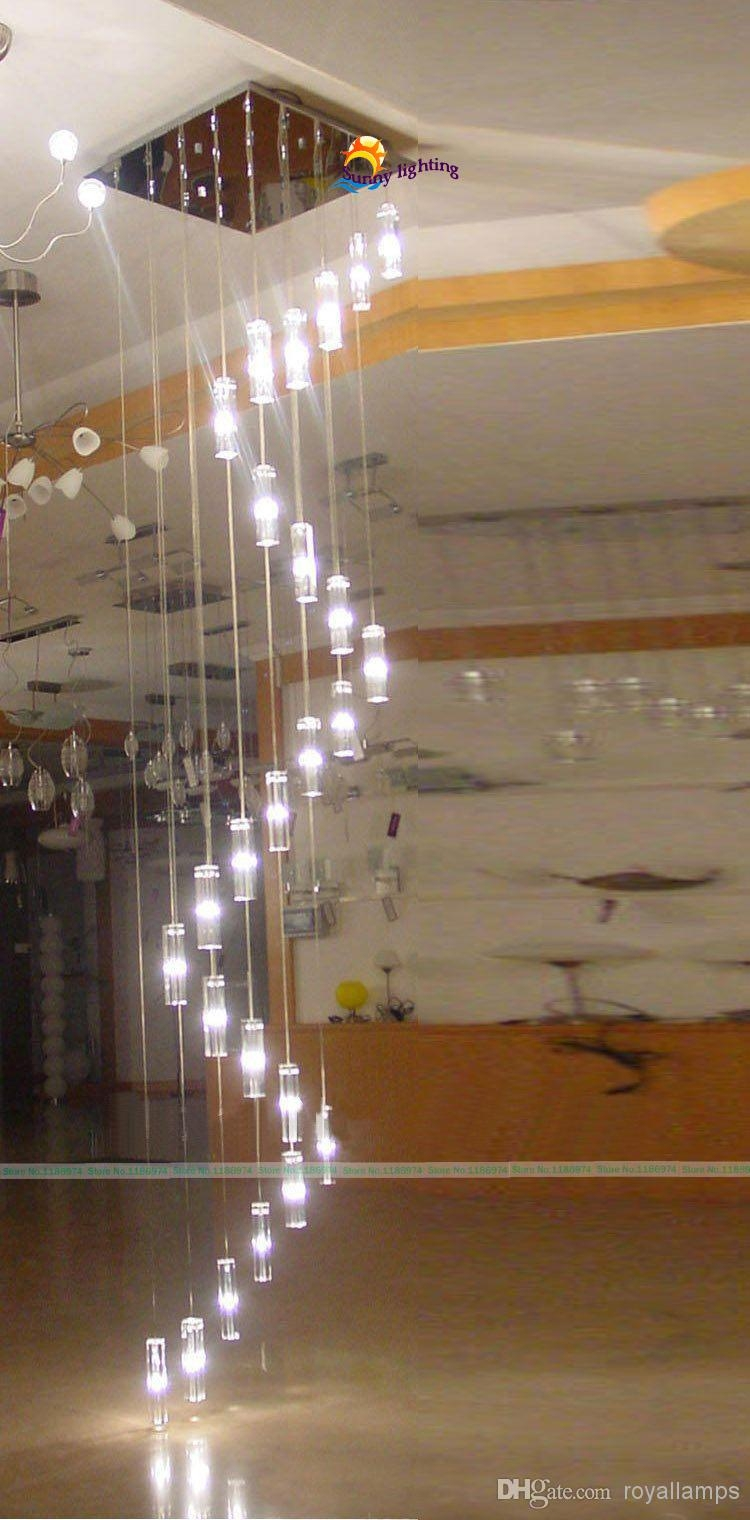 30 Lights 35 4m Large Long Stairway Crystal Chandelier Lamp Big With Long Chandelier Lighting (Image 2 of 15)