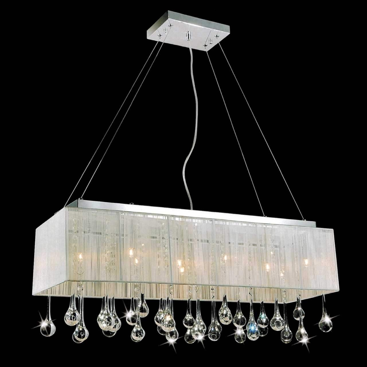 32 Gocce Modern String Shade Crystal Rectangular Chandelier Throughout Modern Silver Chandelier (Image 2 of 15)