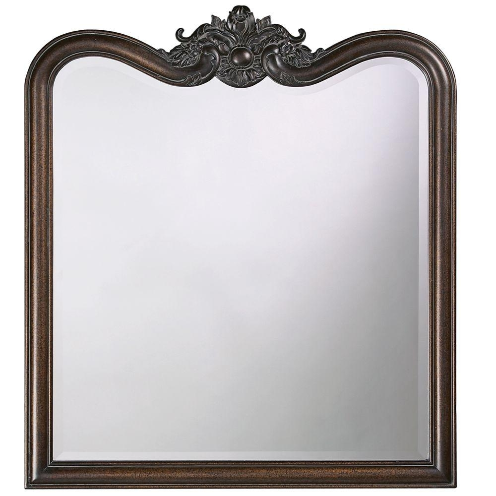 34 In X 38 In Vintage Framed Mirror In Antique Bronze 4079 The Throughout Black Vintage Mirror (Image 1 of 15)