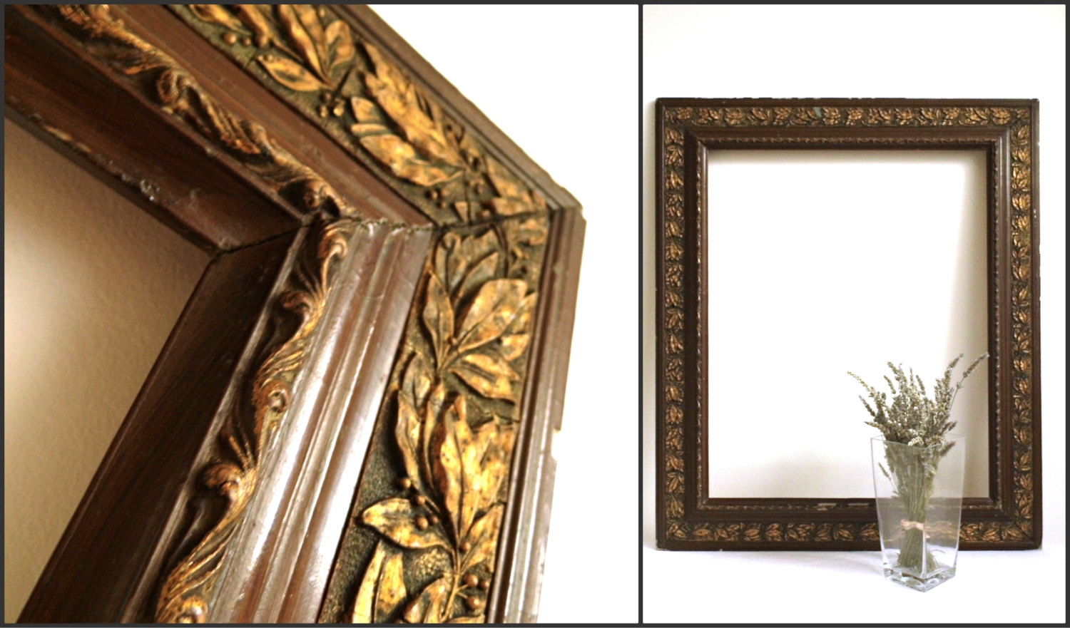 34 Vintage Large Wooden Frame Leaves Antique Picture Mirror In Ornate Mirror Large (Image 1 of 15)