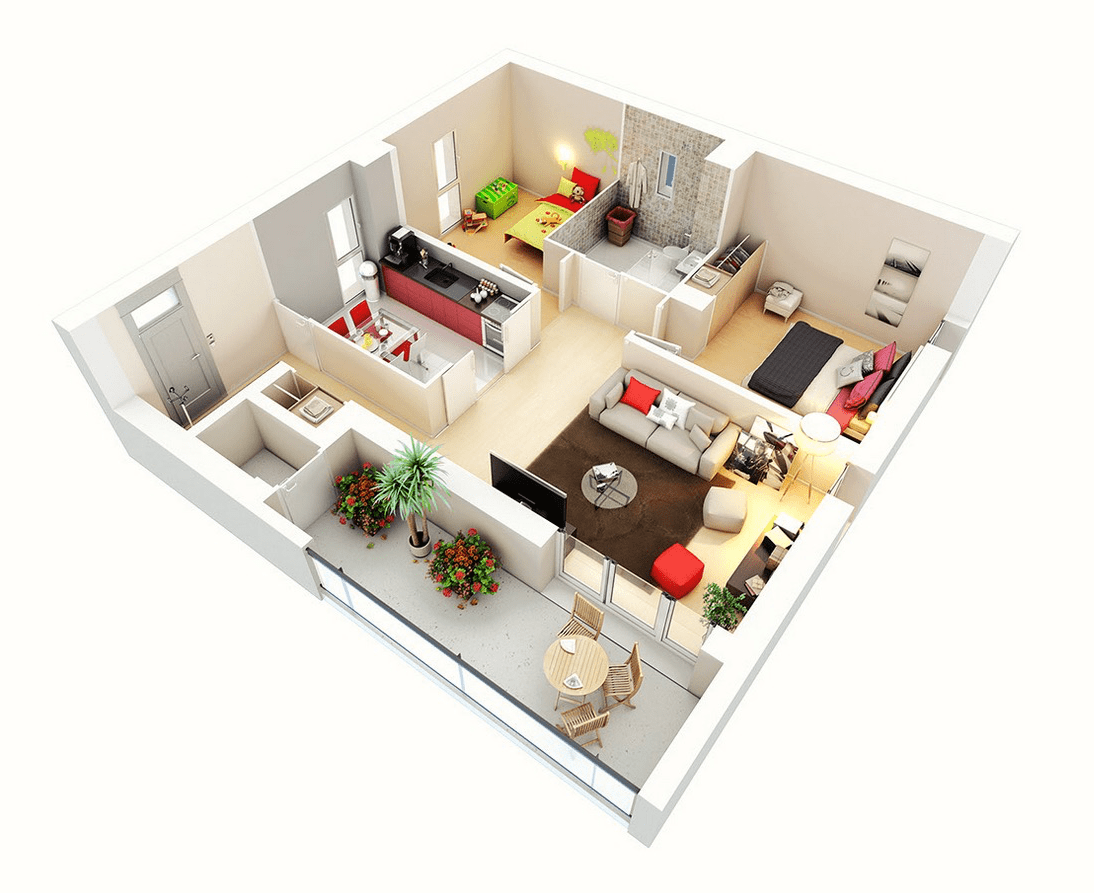 3D Layout Two Bedroom Hall Kitchen House Plans (Image 8 of 17)