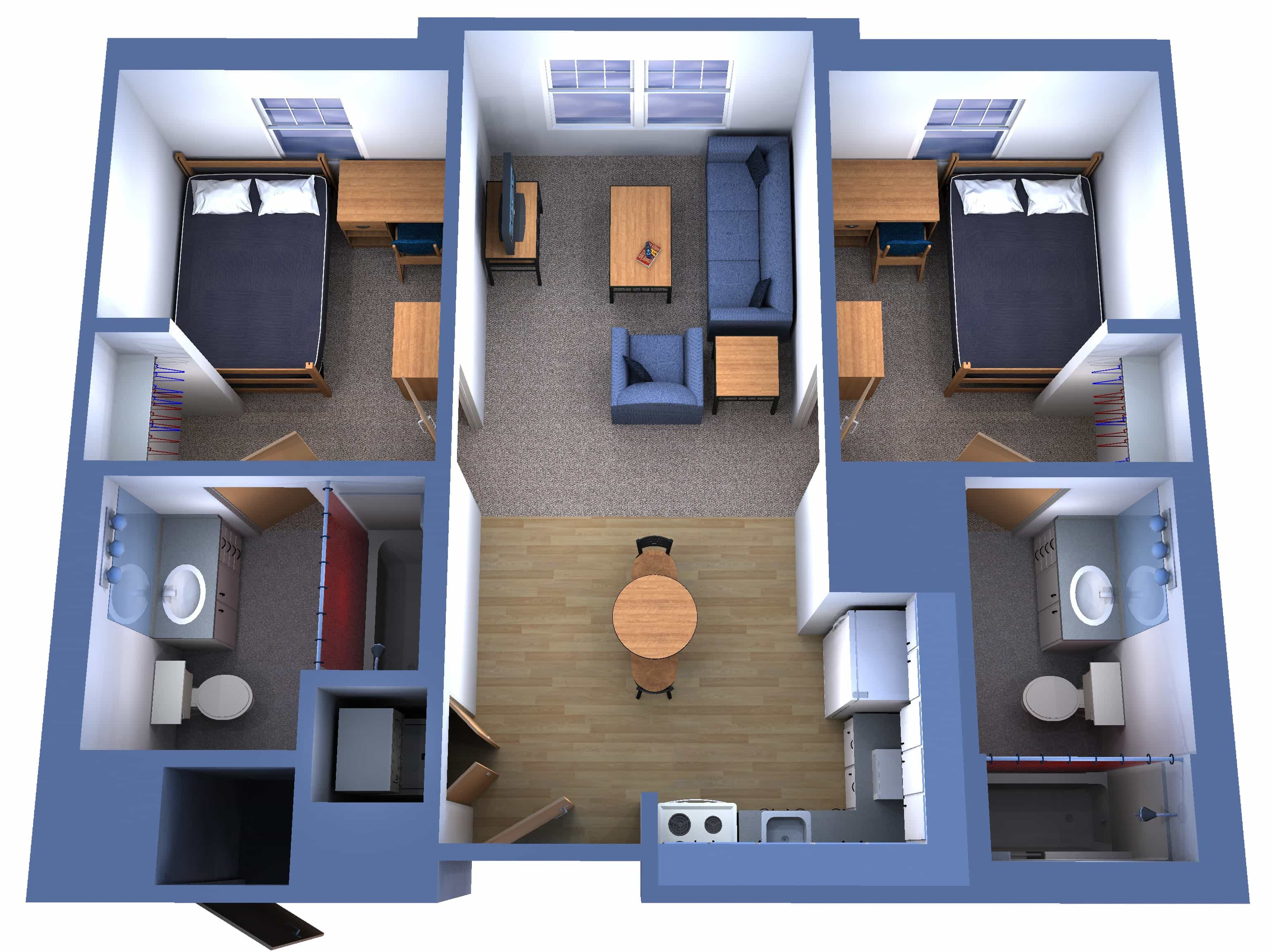 3D House Floor Plan For South Facing Plot With Two Bedrooms And 2 Bathrooms (Image 6 of 17)
