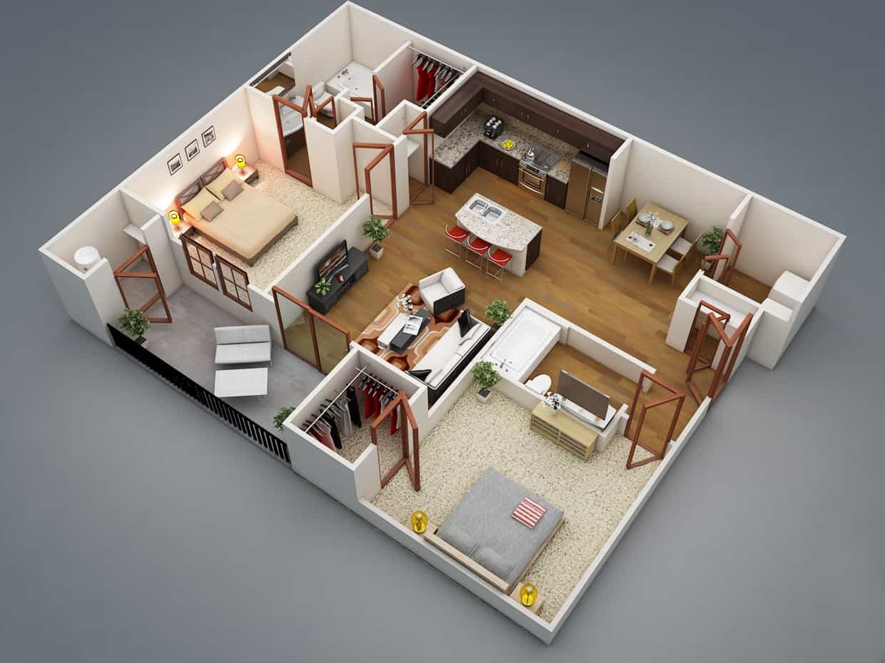3D Two Bedroom Simple Apartment House Plans With Open Space Kitchen (Image 9 of 17)