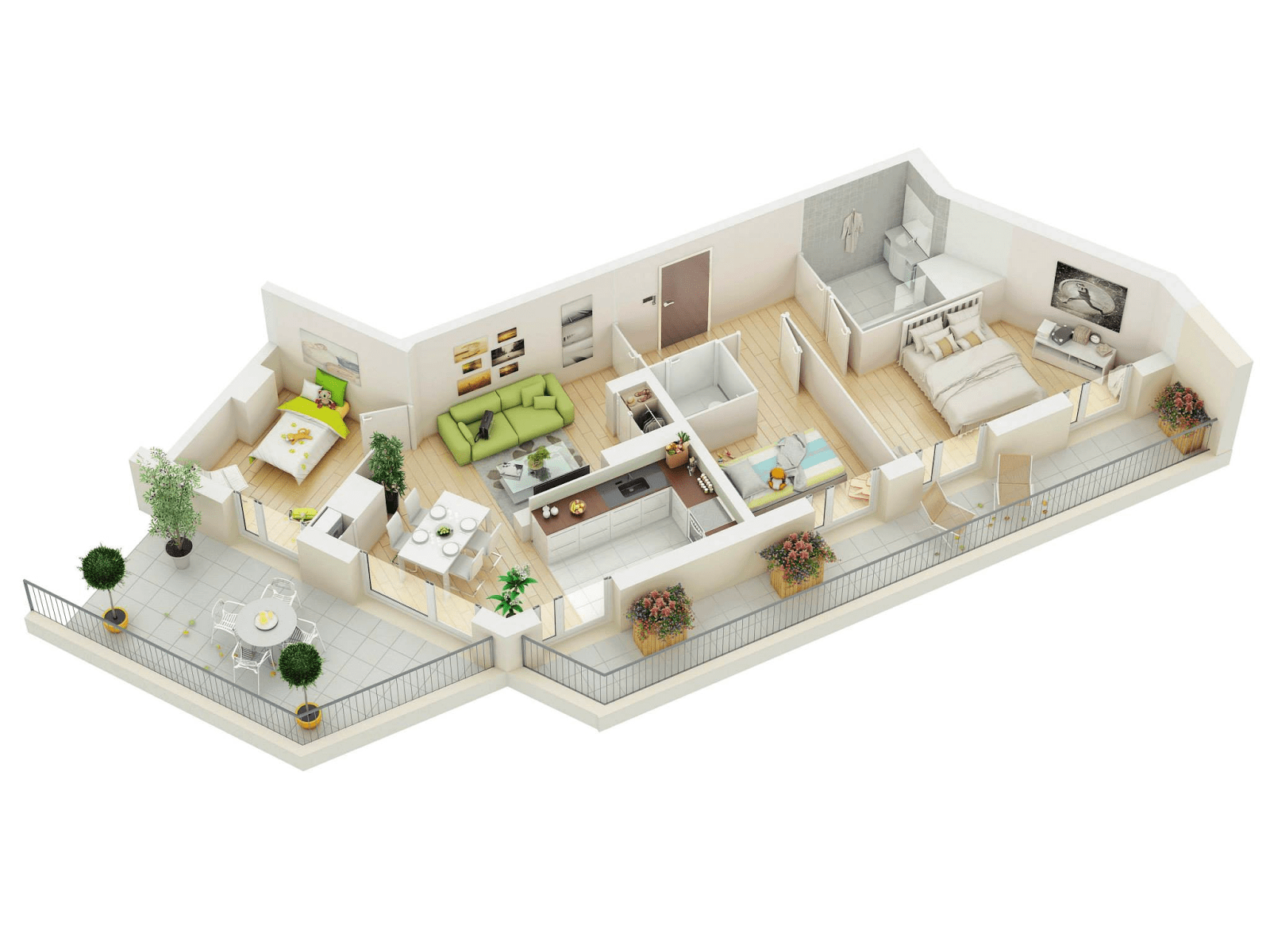 3d Layout Apartment Floor Plans With 3 Bedroom And 2 Bathroom (Image 4 of 11)