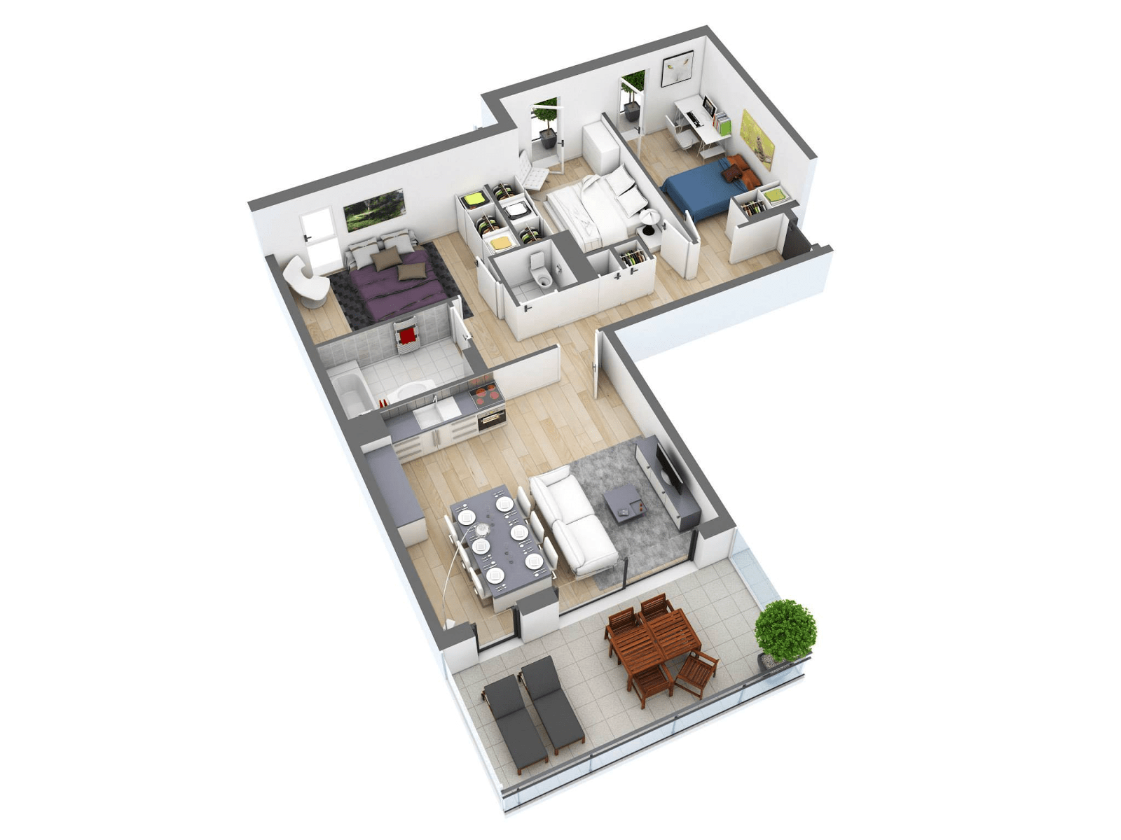 3d Layout House Floor Plans With 3 Bedroom And 2 Bathroom (Image 5 of 11)