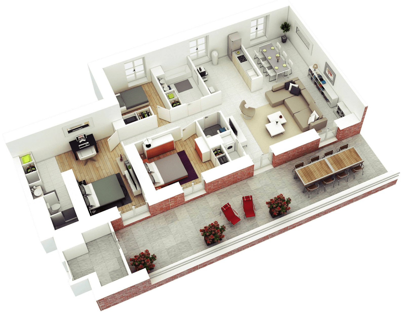 3d Layout House Floor Plans With 3 Bedroom And Backyard Patio (Photo 6 of 11)