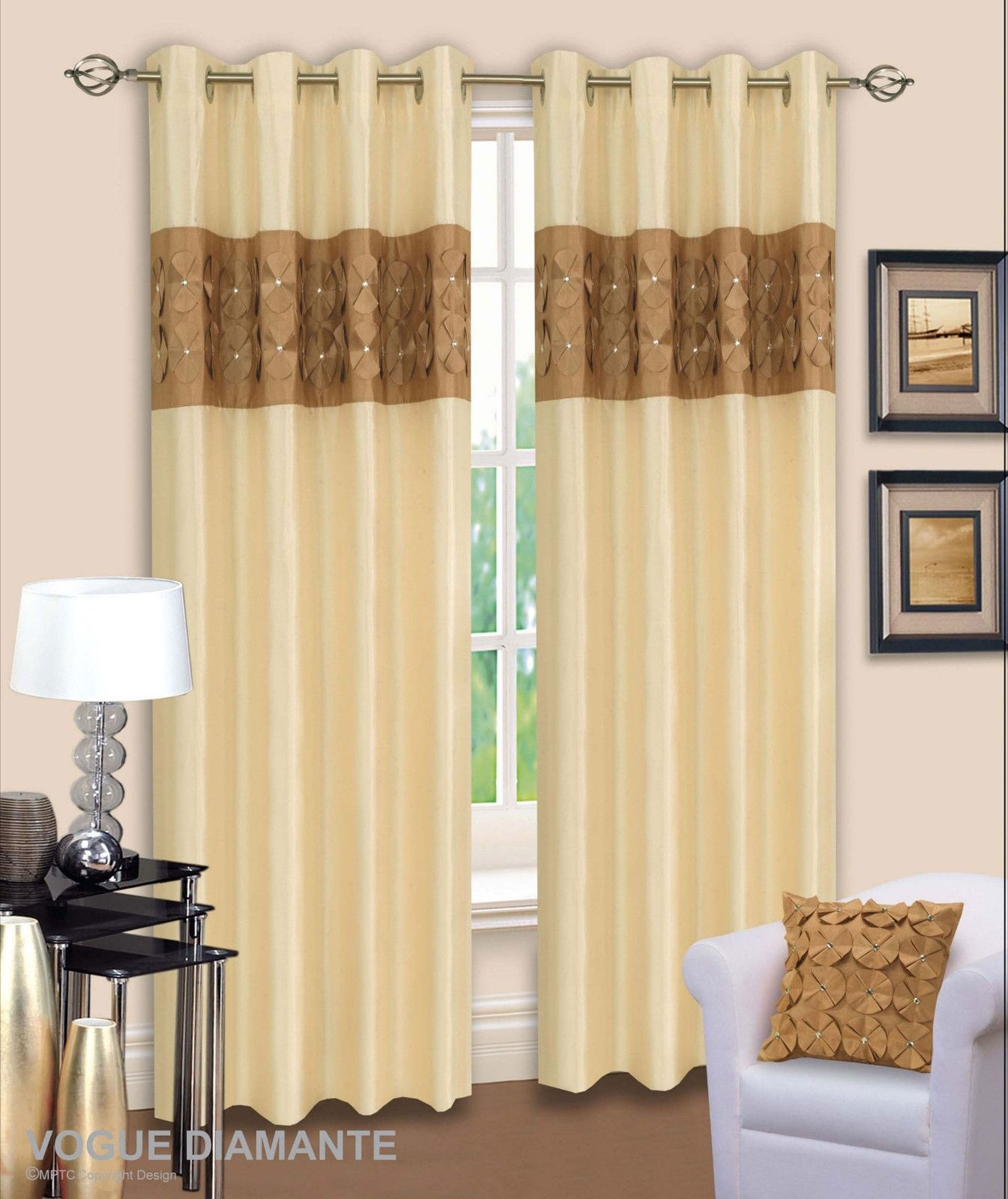 3d Diamante Ringtop Eyelet Lined Curtains Faux Silk Beige Latte Inside Cream And Gold Eyelet Curtains (Image 1 of 15)