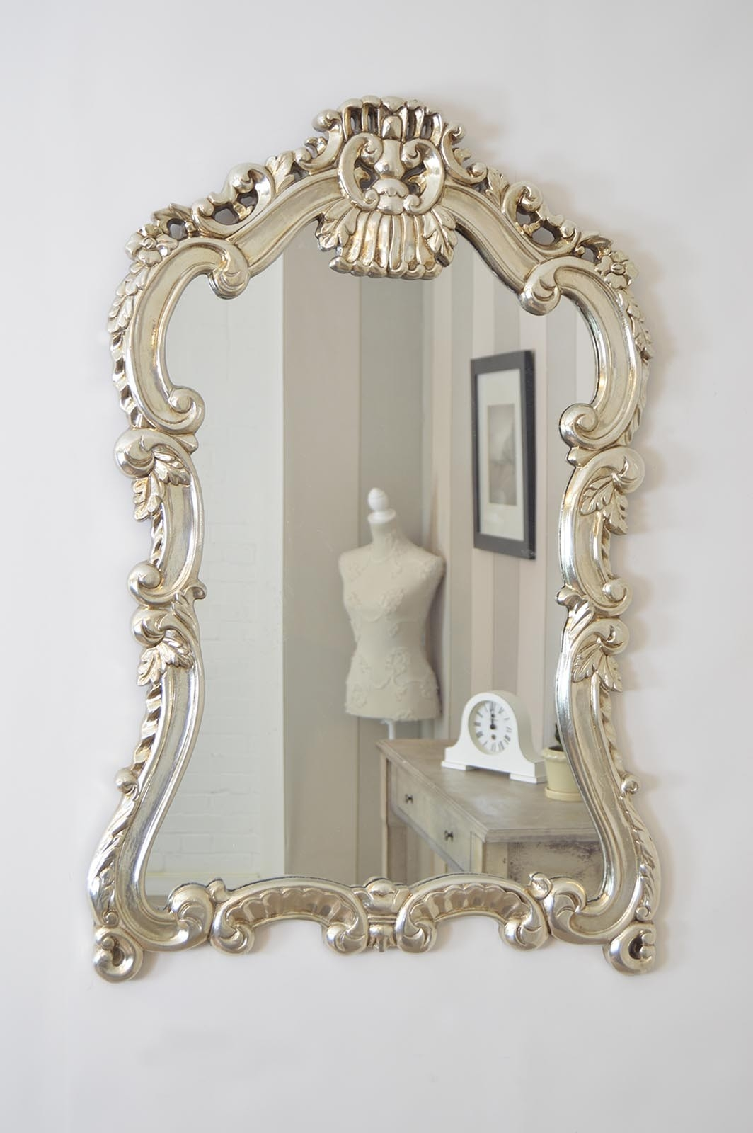 3ft6 X 2ft8 115cm X 82cm Large Silver Baroque Style Ornate Big With Regard To Silver Ornate Mirror (Image 1 of 15)