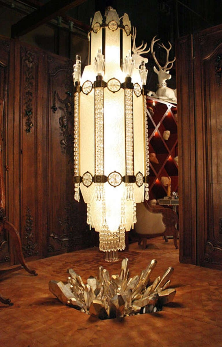 4 Important French Art Deco Glass And Bronze Ballroom Chandeliers Inside Ballroom Chandeliers (Image 3 of 15)